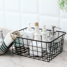 Bathroom Toiletries Organizer Wire Magazine Newspaper Basket Post Storage Rack Kitchen Vegetable Storage Hamper Vintage Style(China)