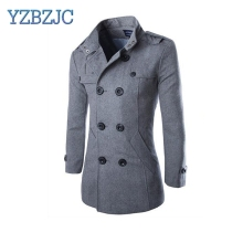 YZBZJC Autumn Winter Men's Casual Blend Jacket Woolen Coat Double Breasted Outerwear