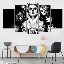 Skull Candy Girl Canvas Art Painting Day of the Dead Face Wall Art Picture Movie Poster Artwork for Living Room Decor 5Pcs/set(China)