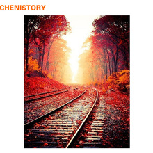 CHENISTORY Frameless Autumn Railway DIY Painting By Numbers Landscape Modern Wall Art Painting Picture By Numbers For Home Decor(China)