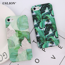 USLION Fashion Tropical Green Leaves Phone Case For iPhone 7 Plus Summer Plants Leaf Cases Hard PC Back Cover For iPhone 7(China)