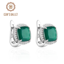 Gem's Ballet 2.2ct Green Agate Clip Earrings 925 sterling silver Vintage For Women Fine Jewelry Accessories Wedding Engagement(China)