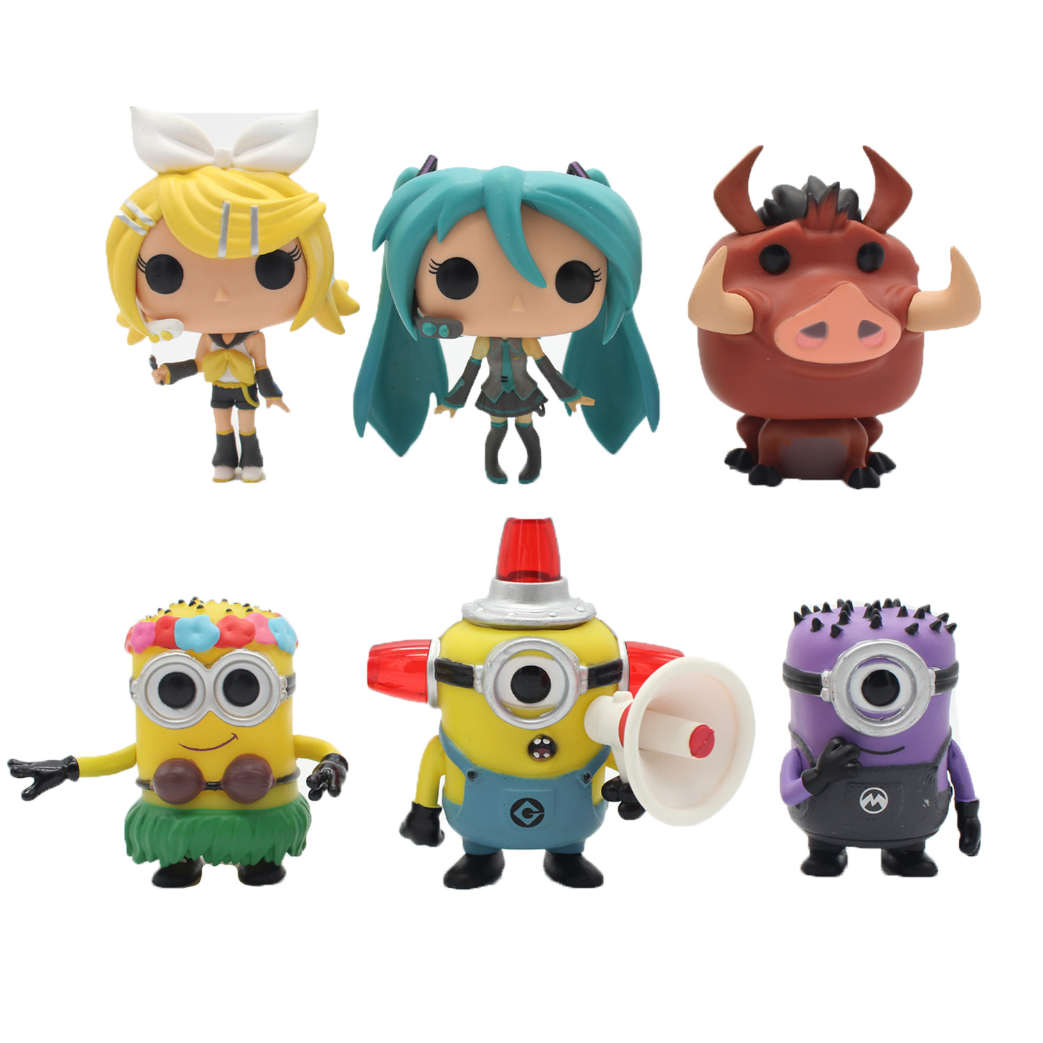 OPP 1pcs chanycore doll 7Style 2015 Kevin Hello Kitty Lion King Pumbaa Natural Hula Hatsune Miku Rin/Len Vinyl Figure toy(China (Mainland))