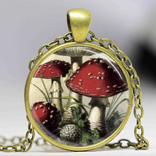 Free shipping Mushroom Necklace Red and White Toadstools, Nature, Woodland, Hippie, Alice In Wonderland Art Pendant(China)