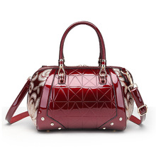 handbag brand agent in guangzhou patent leather hand the bill of lading shoulder slope across Boston bag handbag(China)