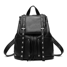 2017 Fashion Women Backpacks Rivet Black Soft Washed Leather Bag Schoolbags For Girls Female Leisure Bag mochilas