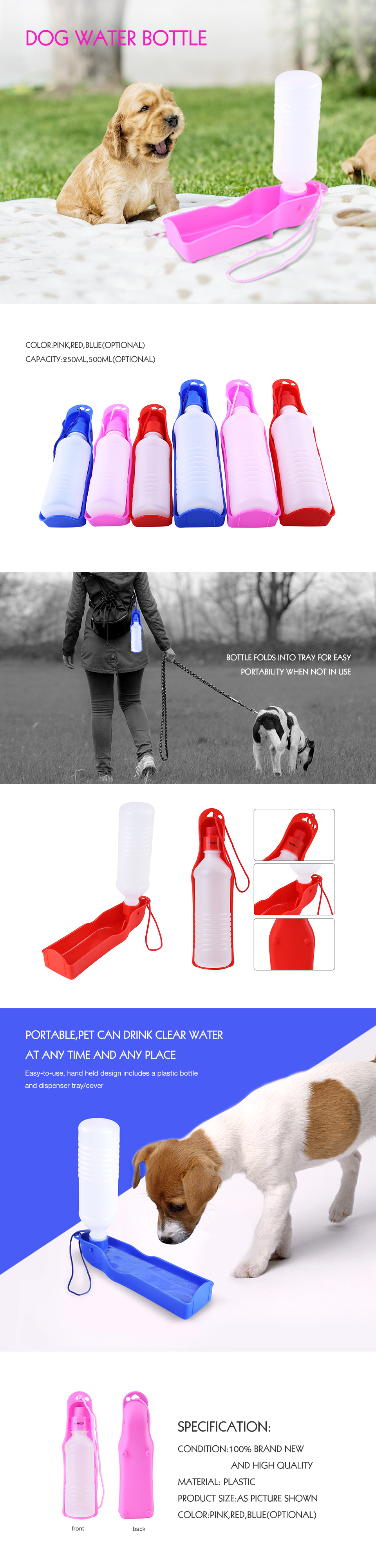 250/500ml Portable Dog Water Bottle Feeder With Plastic Bowl