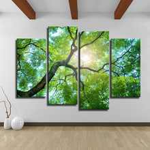 4 Panel Green tree art Wall painting print on canvas for home decor ideas Wall paintings No Frames painted on