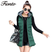 1 PC Autumn Winter Vest Women Waistcoat 2017 Female Sleeveless Hooded Jacket Black Warm Long Vest Outwear Plus Size 3XL F727(China)