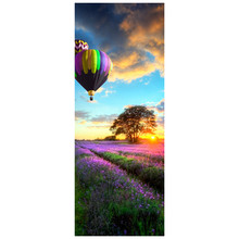 Home 3d door styling stickers Pastoral landscape Hot Air Balloon vinyl wall decals living room bedroom decoration scenery mural(China)
