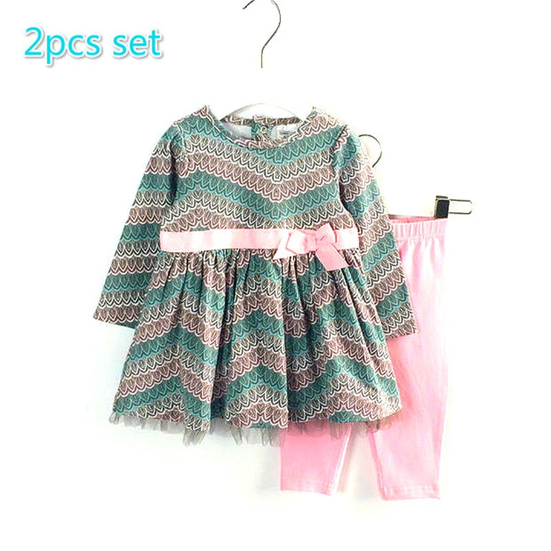 Spring Autumn Baby Girl 2pcs peacock feather pattern sets Longsleeved Dress + legging Children Clothes 9-24M<br><br>Aliexpress