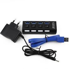 USB 3.0 HUB 4 Ports Splitter With LED ON/OFF Switch USB3.0 Cable AU/EU/US/UK External Power Adapter For PC Laptop Computer