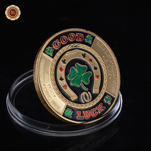 WR 24K Gold Plated Casino Challenge Coin Green Clover Good Luck Poker Chips Antique Token Coin Promotional Sale