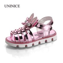 UNINICE Girls Summer Shoes 2017 Kids Sandals with Rhinestone Bow Girls Led Light Up Shoes Non-Slip Breathable Children Sandals