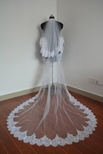 Luxury 3m Ivory White One Layer Tulle Beaded Sequins Lace Edge Cathedral Wedding Veil Long Bridal Veil Wedding Accessories