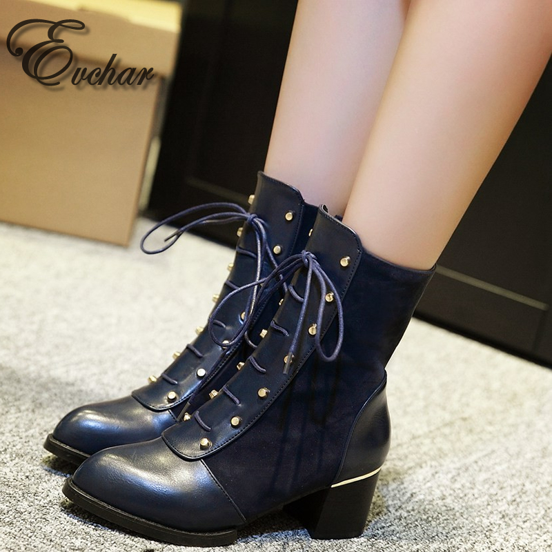 New Womens PU leather martin boots motorcycle boots winter autumn shoes woman side zipper Rivet MidCalf  boots size 33-43<br><br>Aliexpress