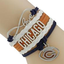 Love infinity Chicago Rugby Football Basketball Hockey Ball Team  Orange Navy Blue Cord Bracelet