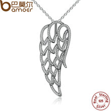 BAMOER New Arrival 925 Sterling Silver Angel Wing, Clear CZ Necklaces & Pendants For Women Fine Jewelry Collares PSN006(China)