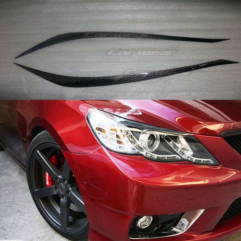 Carbon Fiber Car Headlight Eyelid Eyebrows Cover Trim Sticker for Toyota Reiz Mark X 2010-2012<br>