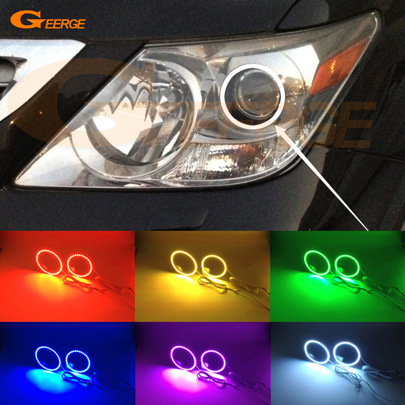 For Lexus LX570 2008 2009 2010 2011 Excellent Angel Eyes Multi-Color Ultra bright RGB LED Angel Eyes kit Halo Ring<br>