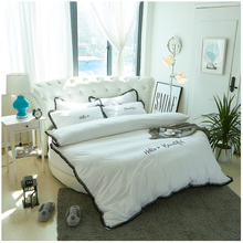 Classic white cotton round bed hotel bedding set new taste bed linens Tassels duvet cover fitted round sheet hot sale 6159(China)
