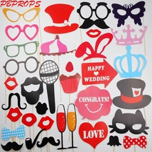 34PCS Photo Booth Props DIYMustache Lips Wedding Party Photobooth props Bunny Cat Mask 2017 Wedding Party Decoration photo booth