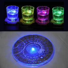 E74 1X LED Coaster Color Change Light Up Drink Cup Mat Tableware Glow Bar Club Party
