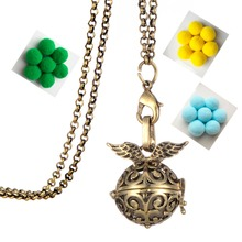 Clearance Angel wings metal necklaces & pendants for women jewelry Openable Hollow Crown Locket Aromatherapy Perfume Necklace