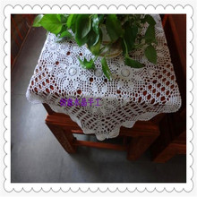 china latest products 2016 korean fashion cotton crochet lace square tablecloth with flower decoration for dinning table towel(China)