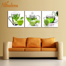 Buy ALMUDENA 3 Panels Nordic Canvas Wall Art Poster Fresh Green Tea Green Apple Restaurant Kitchen Decoration Unframed Painting for $8.25 in AliExpress store