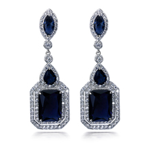 New Earrings for women big Drop Earring rhodium plated with AAA CZ color stone party earring fashion jewelry Free shipment