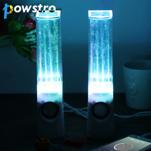 POWSTRO 2PCS LED Fountain Speakers Dancing Water Stereo Music Speakers with 4 Colored LED Light for PC Phone MP3 Iphone