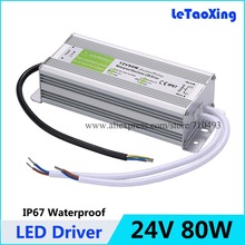 5pcs AC DC 24V 80W LED Driver Transformers Waterproof Transformer 24V Power Supply Adapter IP67 LED Strip DHL Free Shipping(China)