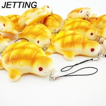 JETTING 1pcs 7.5cm Tortoise Squishy Charms Kawaii Bread Scented Key Chain Bag Cell Phone Straps(China)
