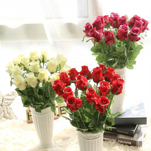 Hot Sale Valentine Rose Bud PU Latex Wedding Decoration Real Touch Lover's Gift 12 Pcs Home Decoration Artificial Flowers(China)