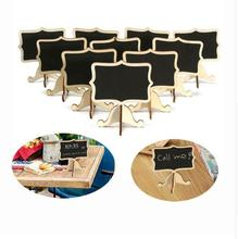 Hot Sale New 10Pcs/Pack Mini Blackboard Lace Chalkboard Wooden Blackboard Price Stand For Party Christmas Wedding Decoration 069