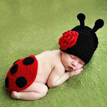 Newborn Photography Props Children Set bebes Ladybug Style 100% cotton Handmade Knit Crochet Baby Beanie Hat and Cover Set GM007(China)