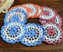 Happy color lace cotton table place mat cloth pad crocheted placemat cup holder coaster round doily mug trivet kitchen tableware