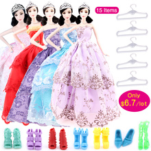 UCanaan Random Pick 15 Items = 5 Wedding Dress Princess Gown + 5 Pairs Shoes + 5 Hangers Clothes For Barbie Doll Gift Baby Toy