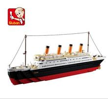 1021PCS Sluban B0577 Building Blocks Toy Cruise Ship RMS Titanic Ship Boat 3D Model Educational Gift Toy legeod brinquedos P724