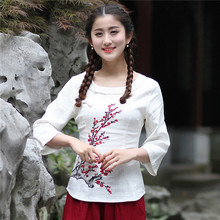 2017 New Ladies' Slim Cotton Linen Shirt Novelty Print Flower Blouse O-Neck Blusas Femininas Tops S M L XL XL XXL XXXL 2618(China)