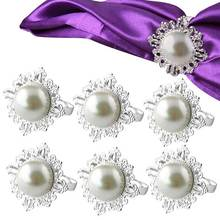 6pcs Pearl Napkin Rings Luxury Rhinestone Napkin Rings for Weddings Party Decorations Table Decoration Accessories  FP