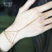 New Fashion Women/Girl's jewelry gifts Geometric hand chain link contact bracelet free shipping B3205(China)
