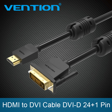 Vention HDMI to DVI cable DVI-D 24+1 Pin male to male 1080P HD 3D Cable adapter for Monitor PS4 Projector High speed hdmi cable(China)