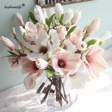 Keythemelife 1 Pcs Artificial Flowers Silk Flower Fake Leaf Magnolia Wedding Decoration Home Decor Party Christmas Ornaments FA(China)