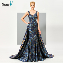Dressv printing backless evening dress a line sleeveless formal party dress women watteau train vintage long evening dresses(China)