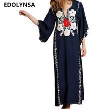 795663156e Boho Flor Azul Escuro Bordado Franjas Side de Verão de Split Vestido Longo  Plus Size Mulheres Roupas Plus Size Vestido Maxi Do V..