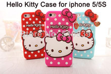 1PCS 3D Lovely Cute hello kitty  Polka Dot Soft Silicon Back Case Cover For Iphone 5 5S &4 4S with bowknot Cell phone Cases