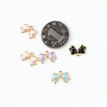MRHUANG Oil Drop Charms 10pcs/lot Cute Bow Enamel Charms Alloy Pendant fit necklaces bracelets DIY Jewelry Accessories