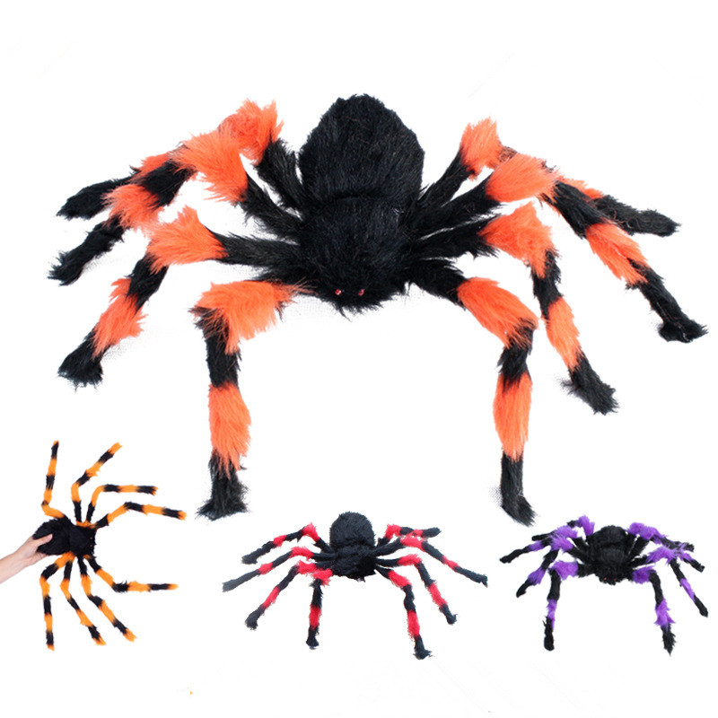 halloween decoration horror black spider haunted house spider web bar party decoration supplies simulation plush tricky toy  (7)